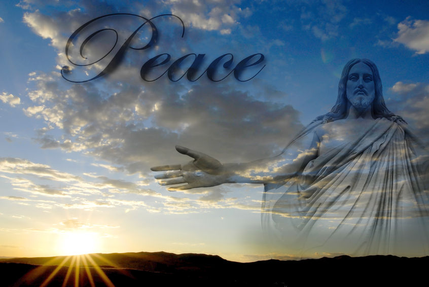 35162235 - jesus at creation with sunset and word peace